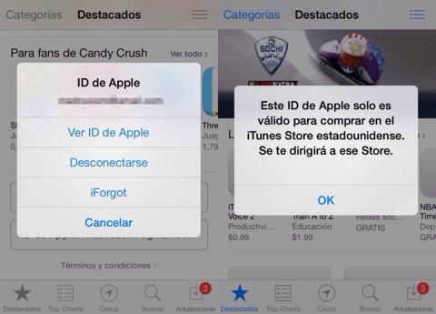 Cambiando de App Store a EEUU