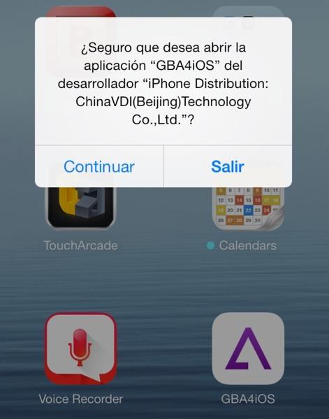Aviso de GBA4iOS
