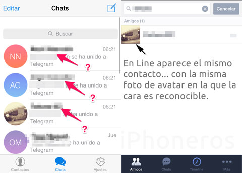 Contactos filtrados de Telegram a LINE