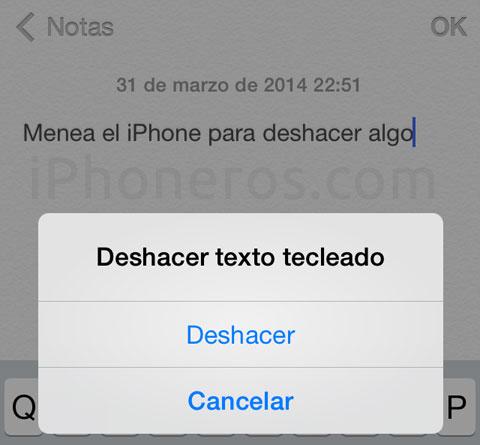 Sacudir el iPhone para deshacer