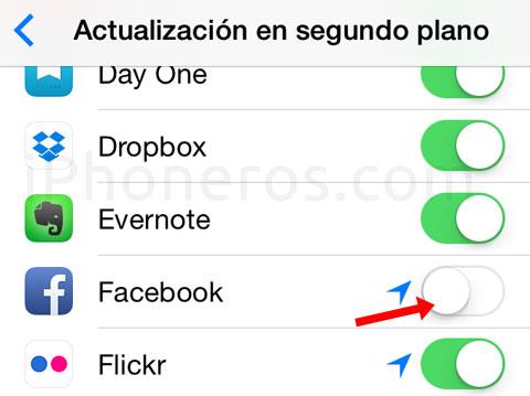 Apagar actualizaciones de Facebook en segundo plano