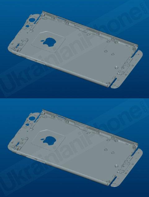 Supuestos esquemas de la parte trasera de un iPhone