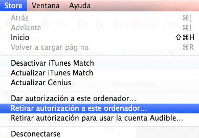 Retirar autorización de iTunes