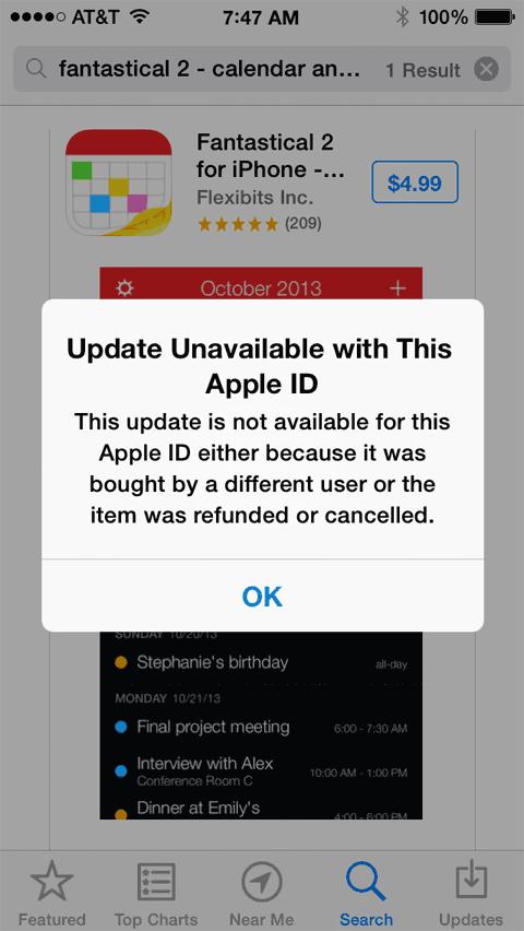 Mensaje que informa sobre no poder instalar una App