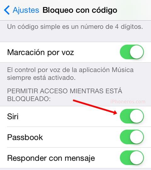 Siri en la pantalla de bloqueo