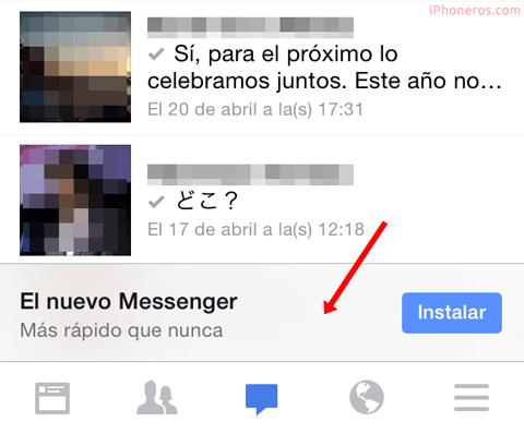 Facebook pidiendo instalar el Facebook Messenger