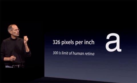 Steve Jobs presentando la pantalla Retina