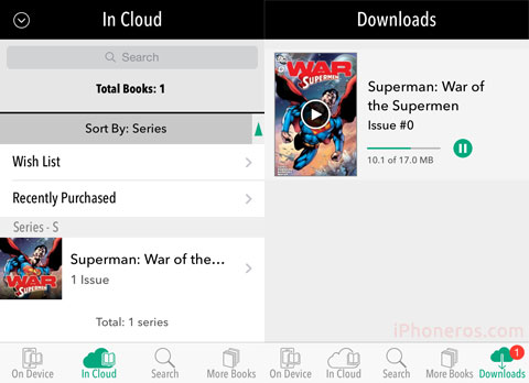 Comics descargándose en el iPhone