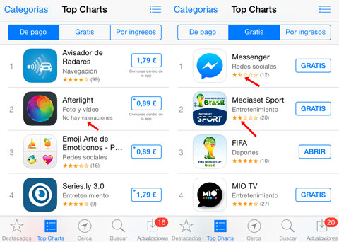Rankings de la App Store