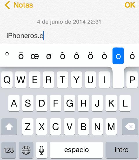 Teclado virtual de Apple