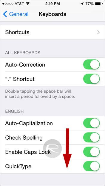 Deactivar QuickType