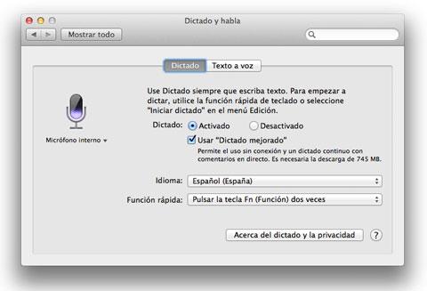 Dictado y habla en OS X