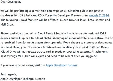 Email de Apple a desarrolladores