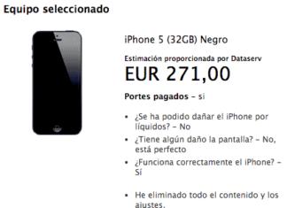 iPhone 5 de 32 GB valorado en 271€