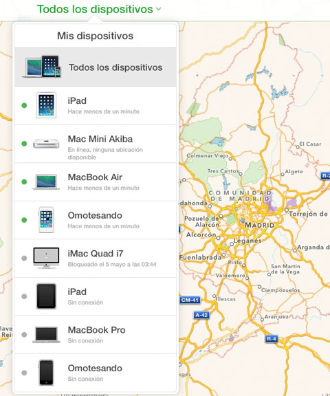 Mapas de Apple en iCloud