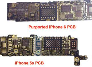 Supuesta placa base del iPhone 6 comparada con la del iPhone 5S