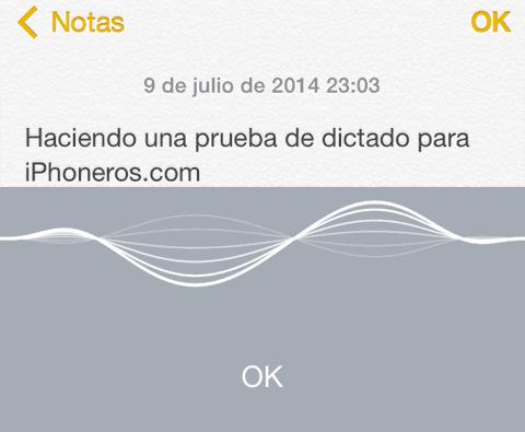 Prueba de dictado en iOS