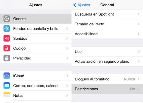 App de Ajustes - Restricciones