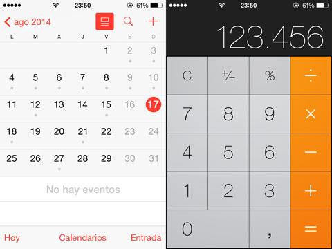 Calendario y calculadora en iOS