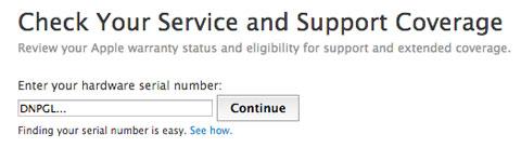 Comprobar número de serie en la web de Apple