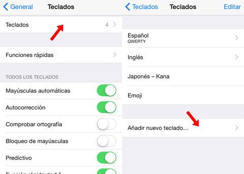 Ajustes de teclados en iOS
