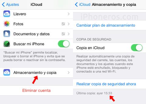 Copias de seguridad de iCloud