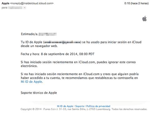 Email de aviso de iCloud