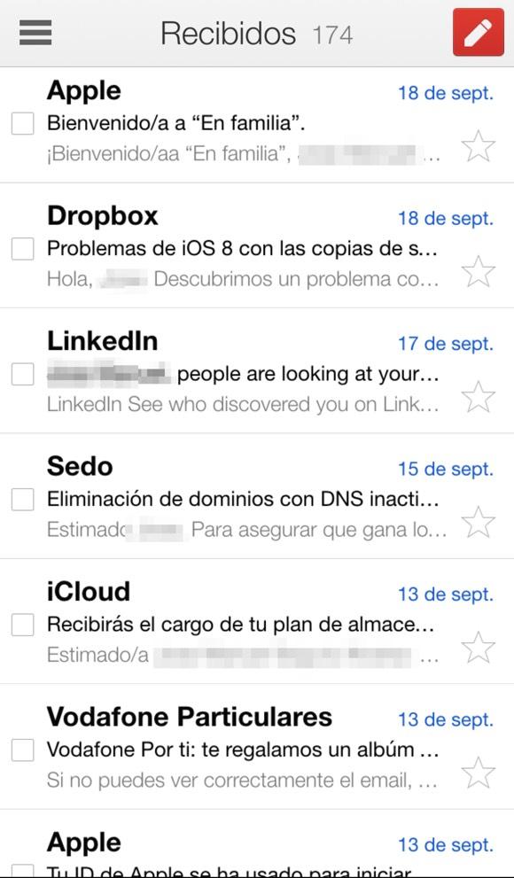 Gmail sin adaptar