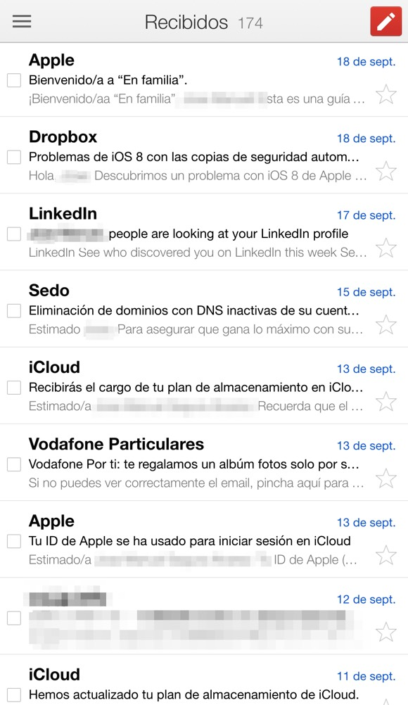 Gmail adaptada al iPhone 6