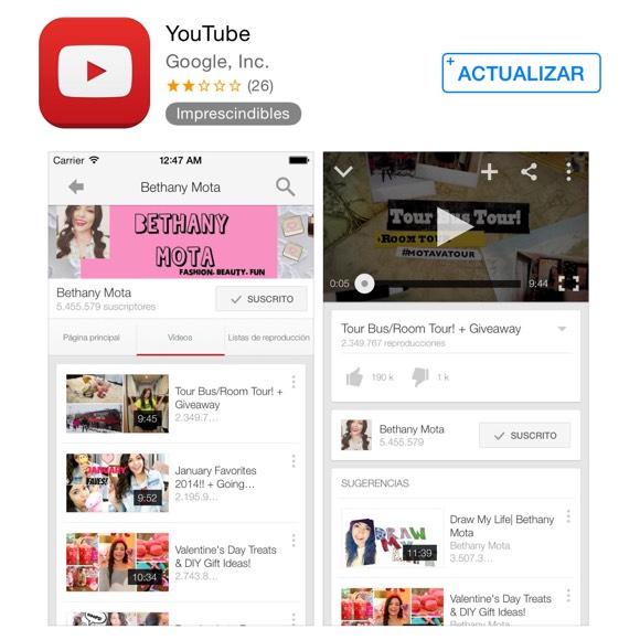 YouTube lista para actualizarse
