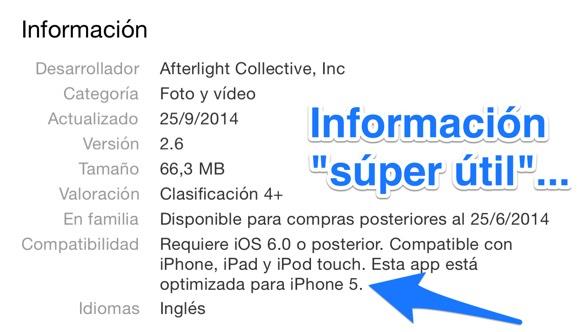Información poco útil en la App Store