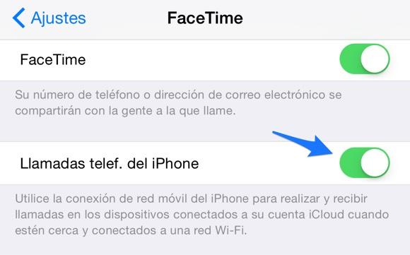 Opciones de llamada en FaceTime