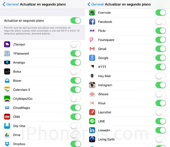 Apps que se actualizan en segundo plano