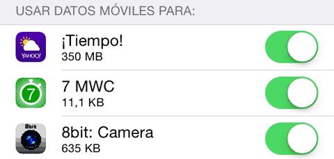 Datos móviles en segundo plano