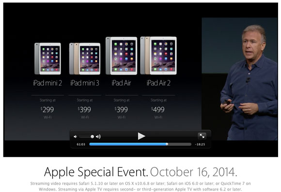 Phil Schiller presentando precios de los nuevos iPads