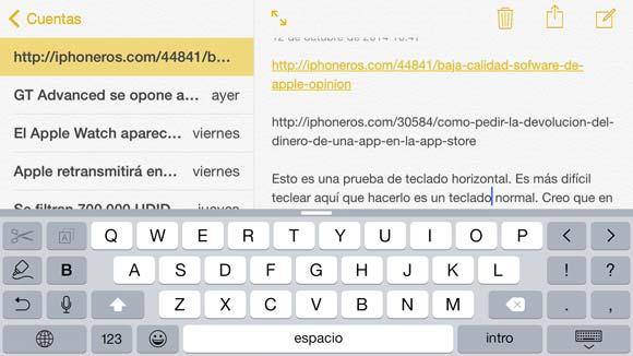 Teclado horizontal del iPhone 6 Plus