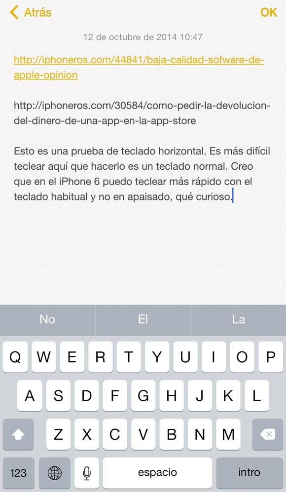Teclado virtual vertical en el iPhone 6 Plus