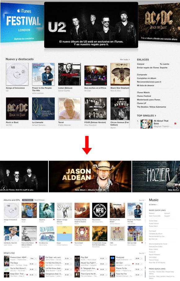 Así cambia el diseño de iTunes