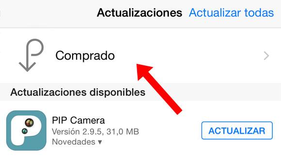 Botón de Apps compradas