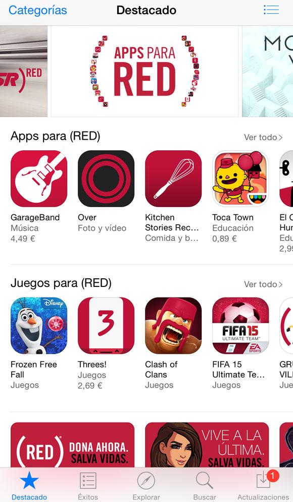 Campaña (RED) en la App Store