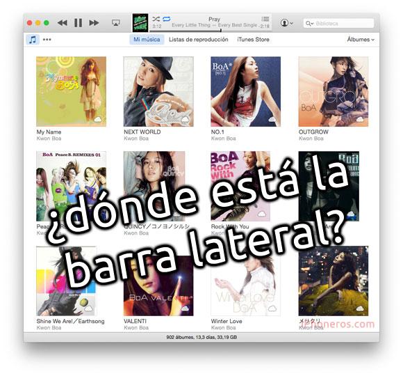 ¿Dónde está la barra lateral de iTunes?