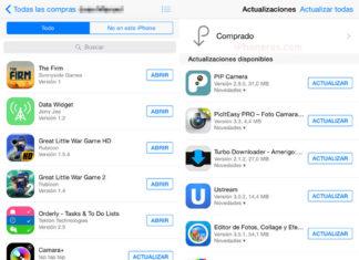 Lista de Apps compradas y pendientes por actualizar