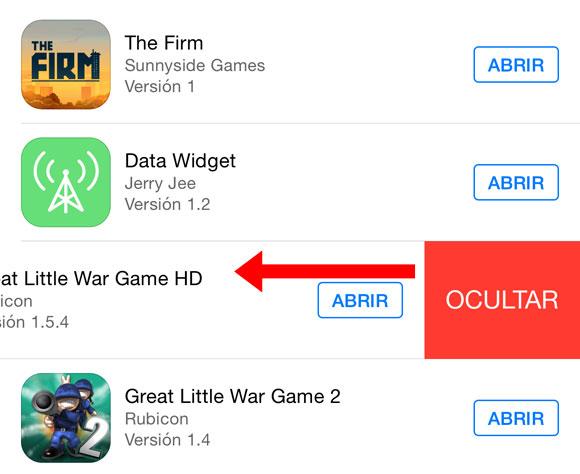Ocultar App de la lista de Apps borradas en la App Store