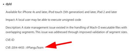 Pangu mencionado en la lista de bugs corregidos en iOS 8.1.1