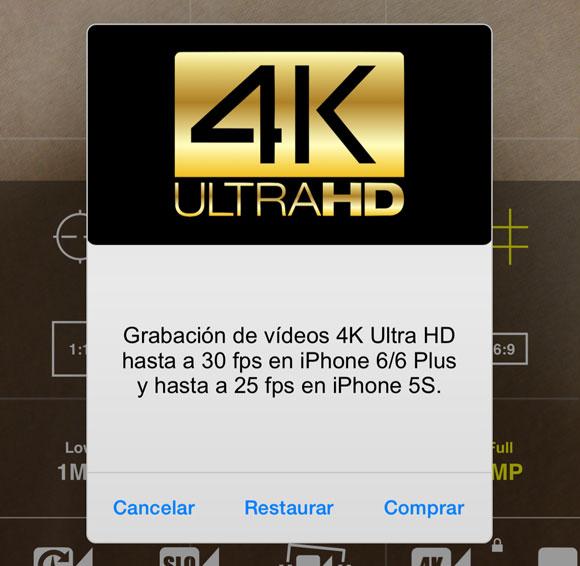 Grabación de vídeo 4K