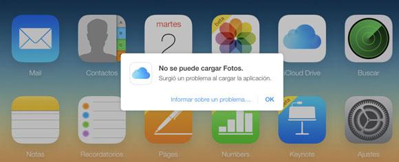 No se puede abrir Fotos en iCloud.com