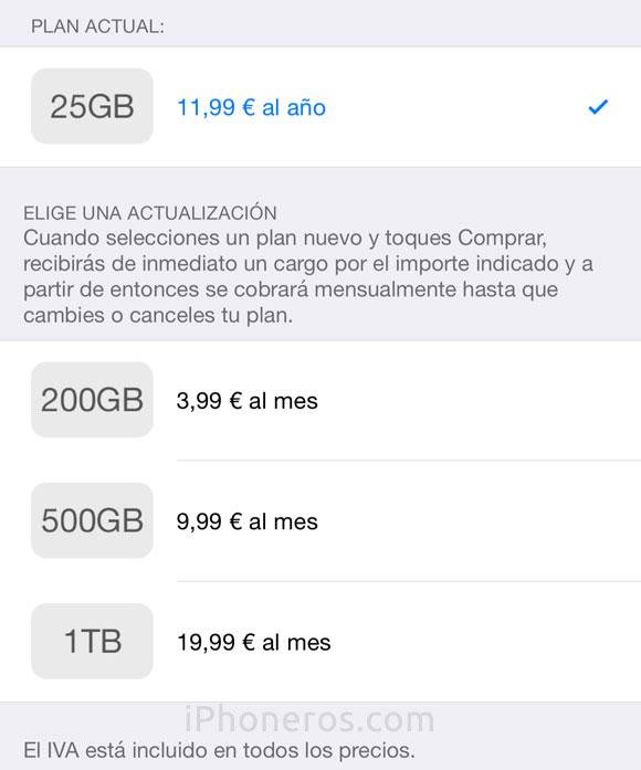Precios de iCloud en España