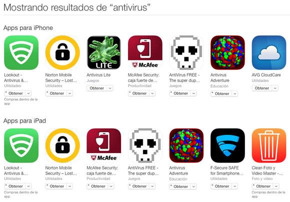 Apps de antivirus en la App Store