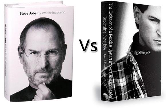 Dos libros de la biografía de Steve Jobs
