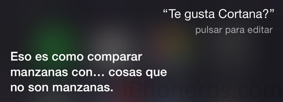 Preguntando a Siri si le gusta Cortana